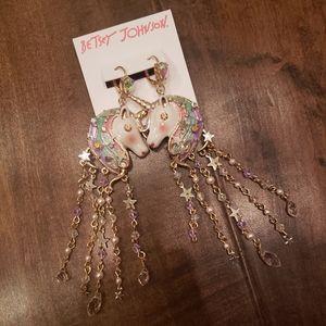 NWT Betsey Johnson Unicorn Dangly Earrings